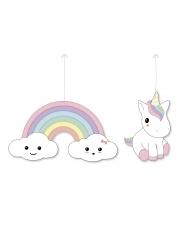 2 Decorazioni Bebé Unicorno in cartone