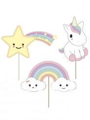 3 Stecchini decorativi per dolci a tema Baby Unicorno