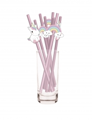 10 Cannucce rosa bebé unicorno