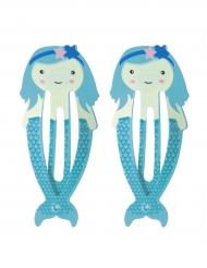 2 fermagli sirena blu
