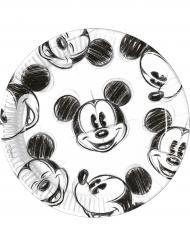 25 Piatti di carta Mickey™ retro bianco e nero