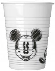 25 bicchieri di plastica Topolino™ in bianco e nero