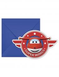 6 Inviti di compleanno con busta Super Wings™ 20 x 13 cm