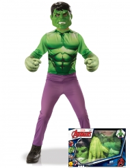 Cofanetto costume Hulk™ per bambino con guanti giganti
