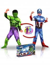 Cofanetto Deluxe Costume Reversibile Capitan America™ e Hulk™ per Bambino