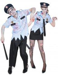 Costume di coppia per adulti agenti di polizia Zombie
