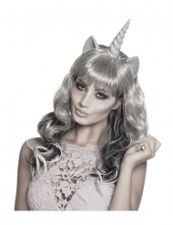 Parrucca argentata da fantasma unicorno per donna