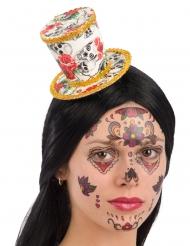 Mini cappello a cilindro dia de los muertos per donna