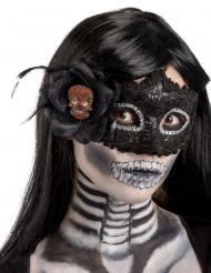 Maschera nera in plastica per donna Dia de los muertos