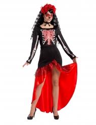 Costume da danzatrice di flamenco dia de los muertos donna