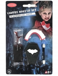 Mini kit trucco da vampiro con denti e sangue finto