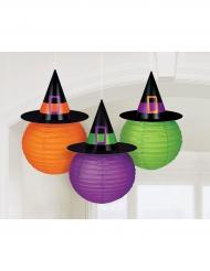 3 Lanterne di carta con cappello da strega