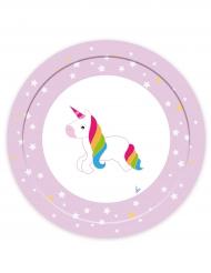 8 Piatti in cartone unicorno 23 cm