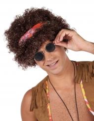 Parrucca afro hippie bruna