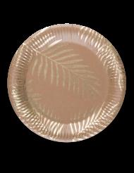 8 Piatti in carta Kraft palme dorate 23 cm