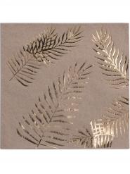 16 Tovaglioli in carta kraft con palme dorate