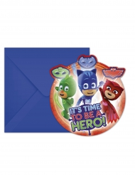 6 inviti di compleanno con busta Superpigiamini™ 14 x 9 cm