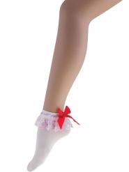 Calze bianche corte con fiocco rosso per donna