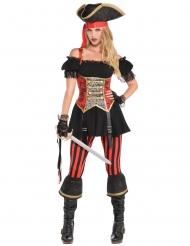 Costume da piratessa rossa e nera per donna