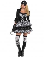Costume piratessa bianco e nero per donna