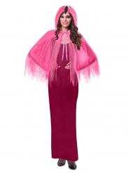 Mantello con cappuccio da fenicottero rosa per adulto