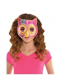 Mascherina da gufo rosa con brillantini per bambina