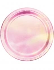 8 Piatti piccoli in cartone rosa iridescente 18 cm