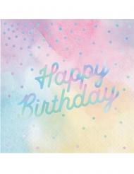 16 Tovaglioli di carta iridescenti Happy Birthday