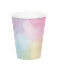 8 Bicchieri di carta rosa iridescente