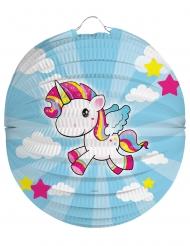 Lanterna in carta Unicorno arcobaleno 22 cm