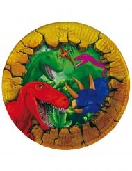 6 Piatti piccoli in cartone Dinosauri 18 cm