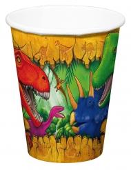 6 Bicchieri in cartone Dinosauri 250 ml