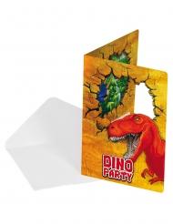 6 Carte di invito in cartone con dinosauri