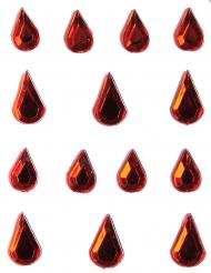 Strass per viso e corpo gocce rosse adulto