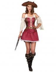 Costume da pirata sexy bordeaux per donna