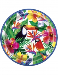 8 piatti festa tropicale hawaii 23 cm