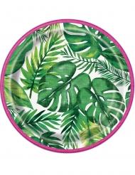 8 Piatti piccoli in cartone festa tropicale hawaii 18 cm