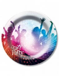 6 Piatti in cartone Crazy Party 23 cm