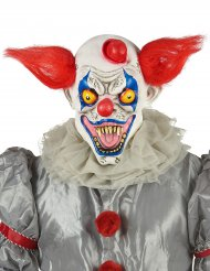 Maschera in latex clown rosso bianco e blu adulto