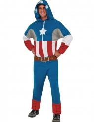 Costume tuta con cappuccio Capitan America™ adulto