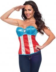 Corsetto Capitan America con paillettes donna