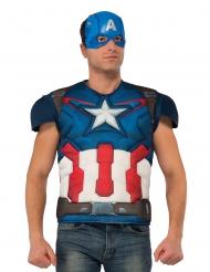 Petto muscoloso deluxe con maschera Capitan America™ adulto