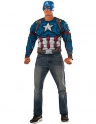 Maschera e maglia con muscoli Captain America™ adulto