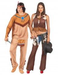 Costume coppia indiano e cowgirl per adulto