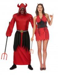 Costume di coppia diavoli rossi per adulto