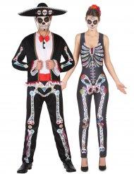 Costume coppia di scheletri colorati dia de los muertos