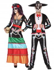 Costume di coppia da scheletri dia de los muertos