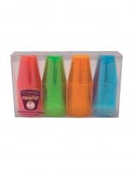 60 Bicchieri da shot in plastica neon multicolore