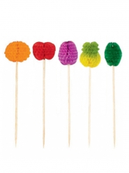 50 Stuzzicandenti con carta alveolata frutta multicolre 10 cm