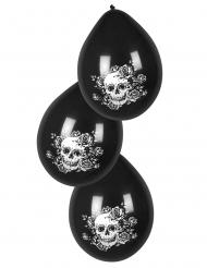 6 palloncini con teschio e fiori nero 25 cm